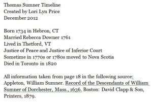 Thomas Sumner timeline